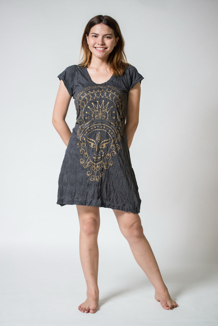 Womens Durga Dress in Gold on Black