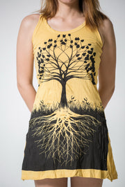 Womens Tree of Life Tank Dress in Yellow
