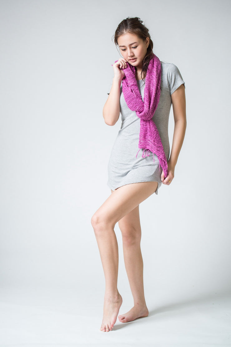 Thai Hand Woven Cotton Shawl Scarf in Pink