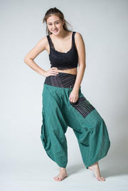 Unisex Pinstripe Button Up Cotton Pants with Hill Tribe Trim in Green