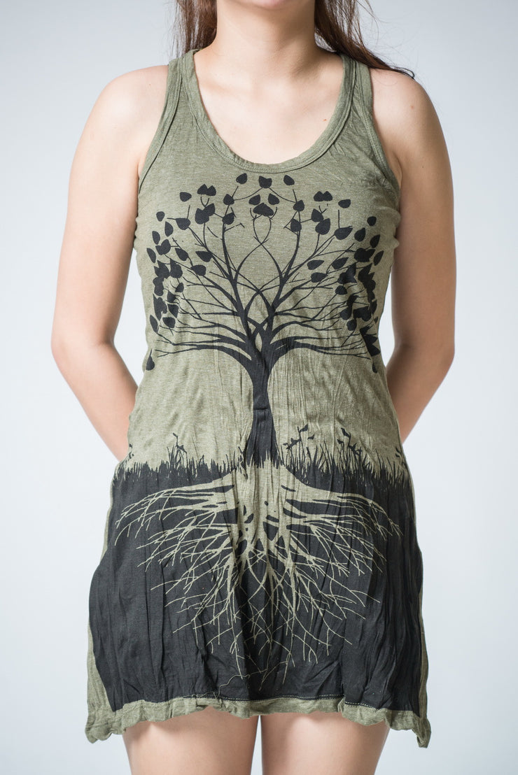 Womens Tree of Life Tank Dress in Green