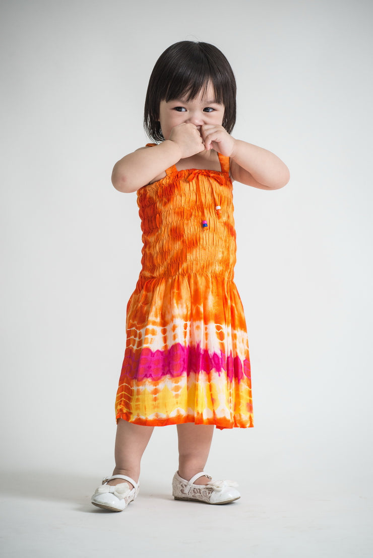 Kids Tie Dye Smock Dress in Orange