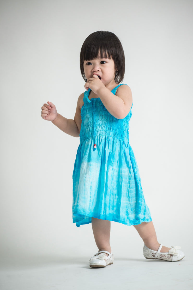Kids Tie Dye Smock Dress in Blue