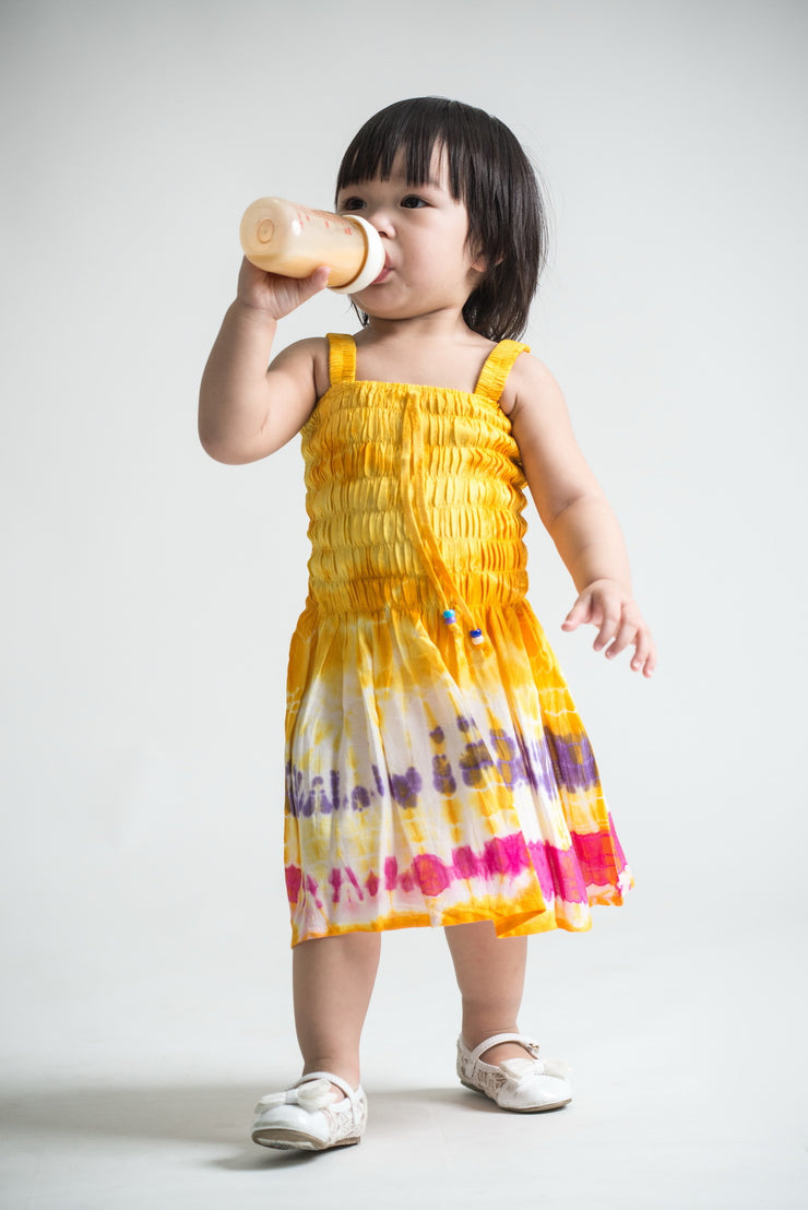 Kids Tie Dye Smock Dress in Yellow