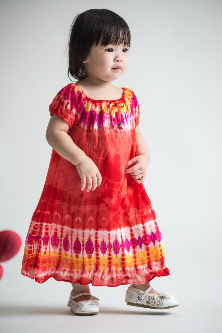Kids Tie Dye Dress in  Red