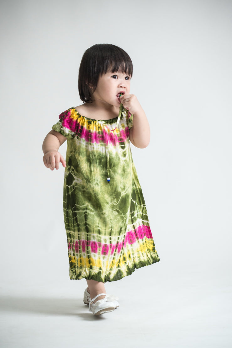 Kids Tie Dye Dress in  Green