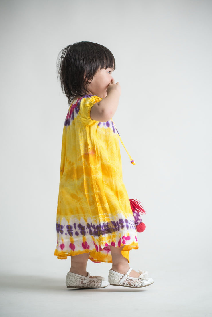 Kids Tie Dye Dress in  Yellow