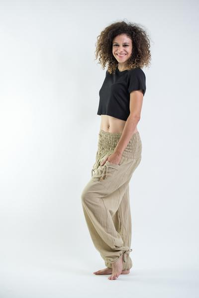 Womens Solid Color Smocked Waist Pants in Tan