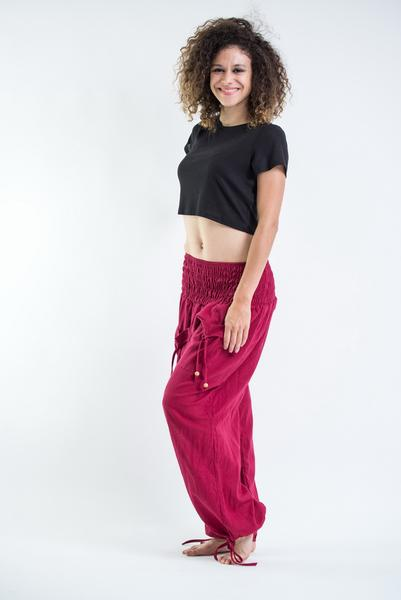 Womens Solid Color Smocked Waist Pants in Red