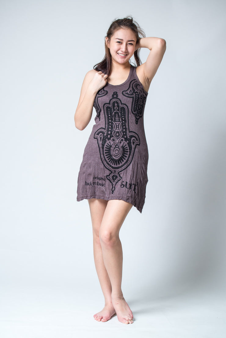 Womens Three Hands Tank Dress in Brown