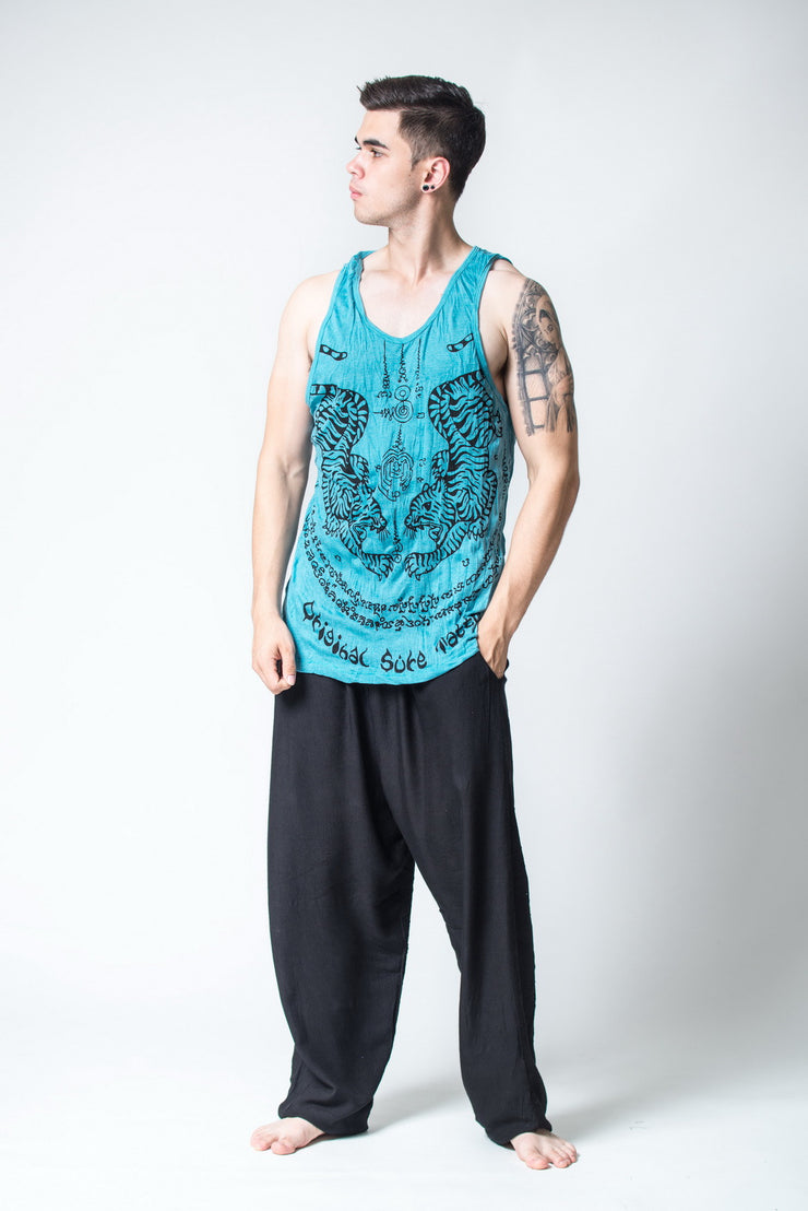 Mens Thai Tattoo Tank Top in Turquoise