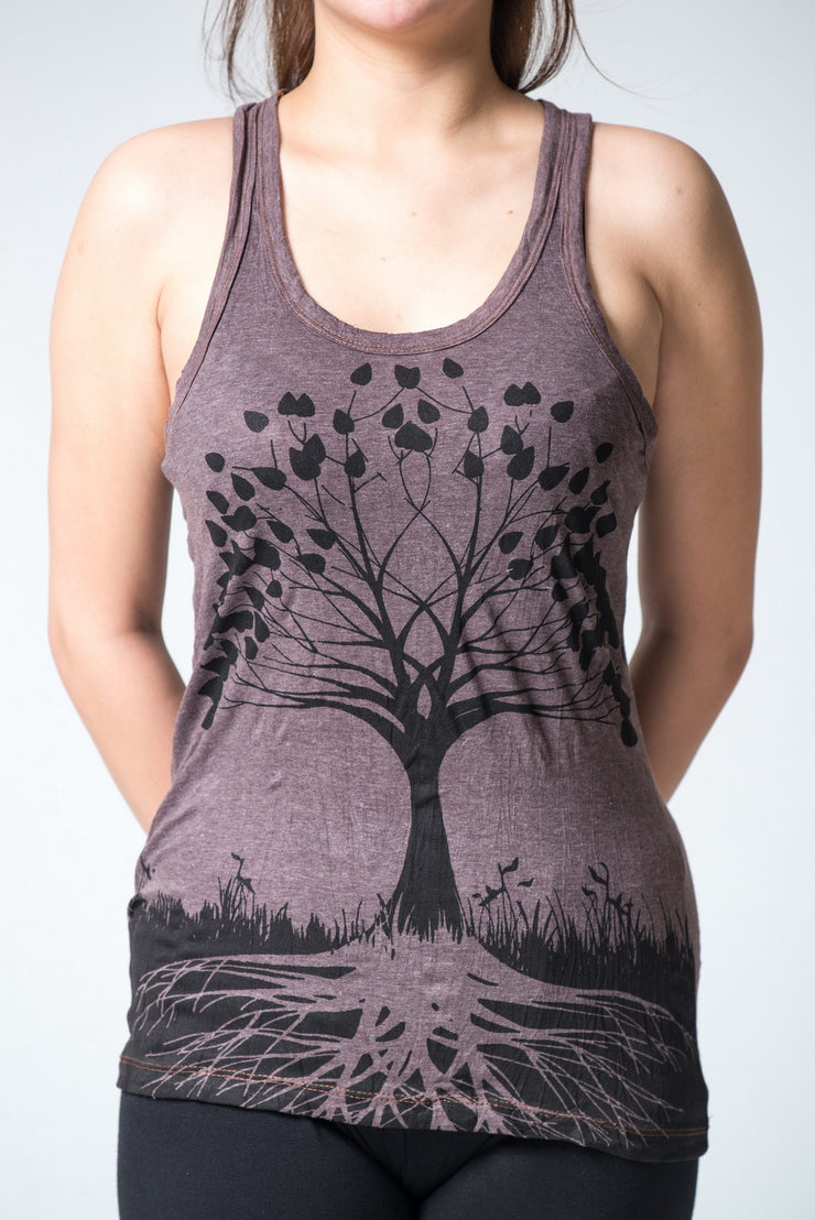 Womens Tree of Life Tank Top in Brown
