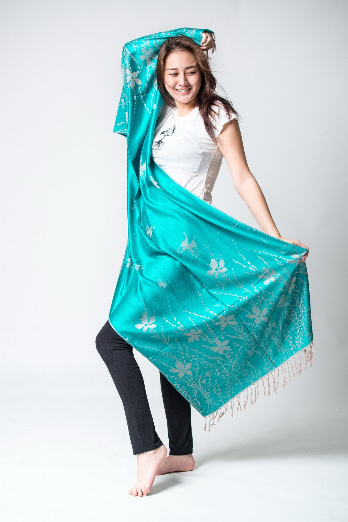 Nepal Hand Made Pashmina Shawl Scarf Turquoise Sure Design
