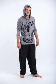 Unisex Muay Thai Flying Knee Hoodie in Gray