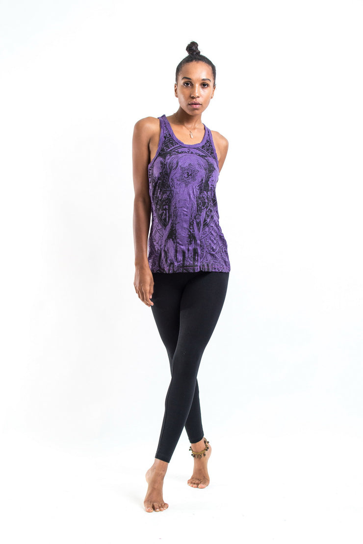 Womens Wild Elephant Tank Top in Purple