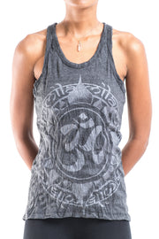 Womens Infinitee Om Tank Top in Silver on Black