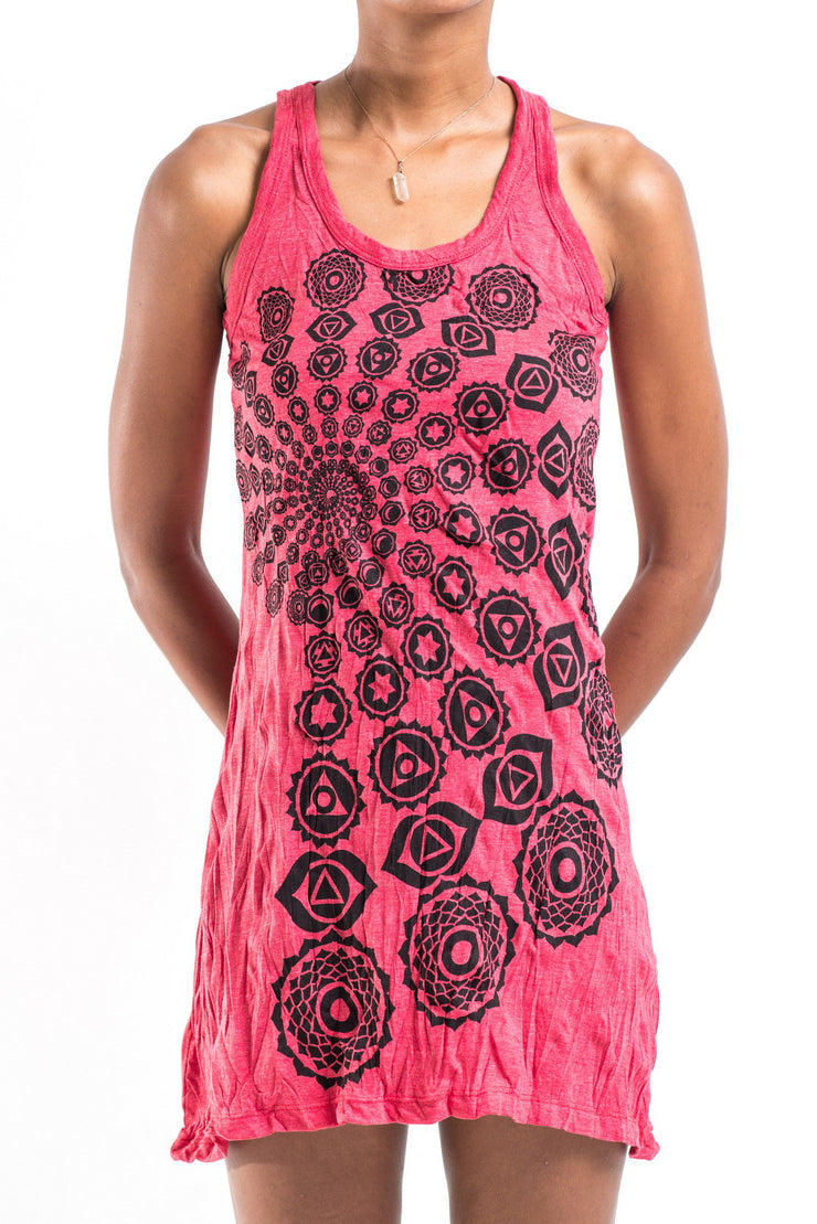 Womens Chakra Fractal Tank Dress in Red