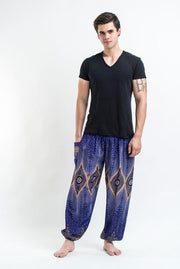 Unisex Diamond Peacock Harem Pants in Blue