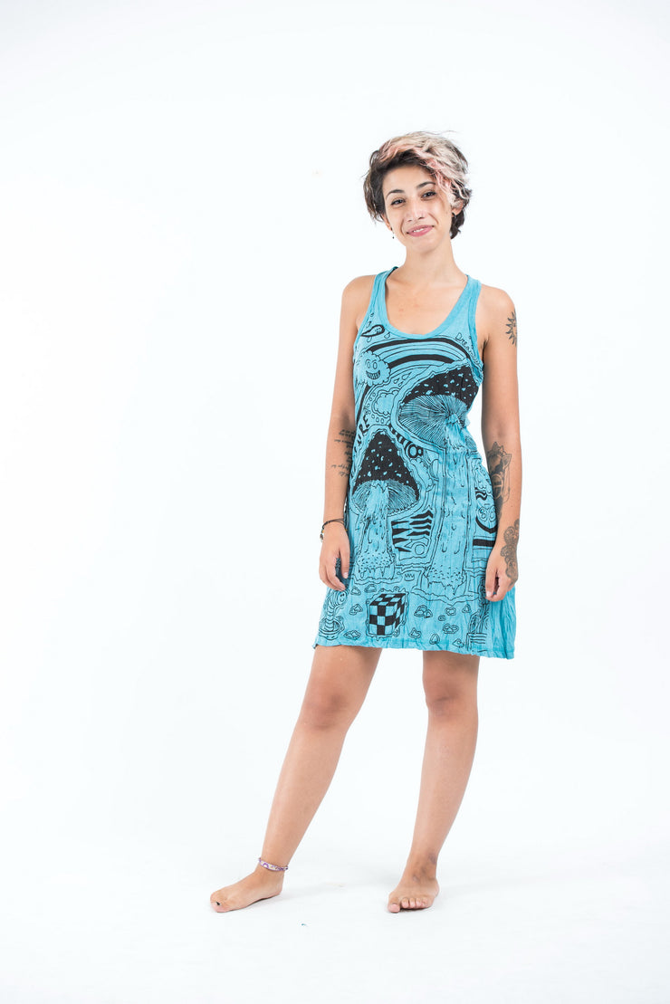 Womens Magic Mushroom Tank Dress in Turquoise