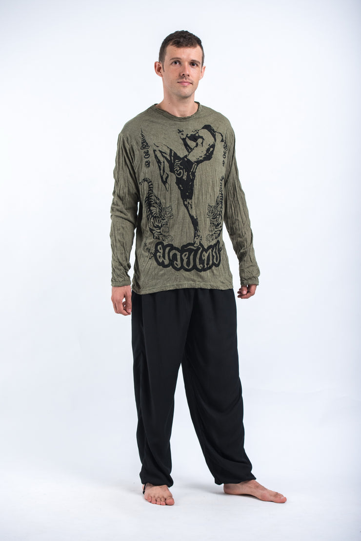 Unisex Muay Thai Flying Knee Long Sleeve T-Shirt in Green