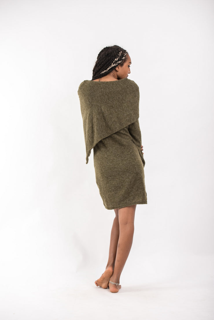 Shawl Hoodie Combo Sweater Dress in Green