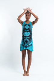 Womens Lotus Hands Tank Dress in Turquoise