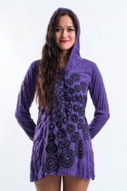 Womens Chakra Fractal Hoodie Dress in Purple