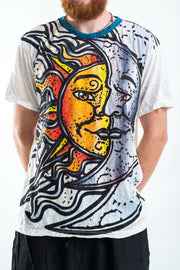 Sure Design Mens Sun and Moon T-shirt White