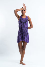 Womens Sacred Geometry Mandala Tank Dress in Purple