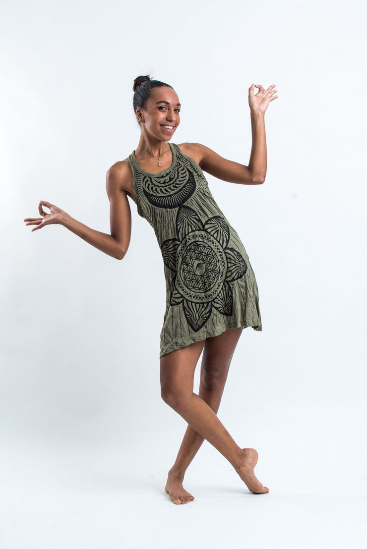 Womens Sacred Geometry Mandala Tank Dress in Green