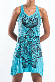 Womens Sacred Geometry Mandala Tank Dress in Turquoise