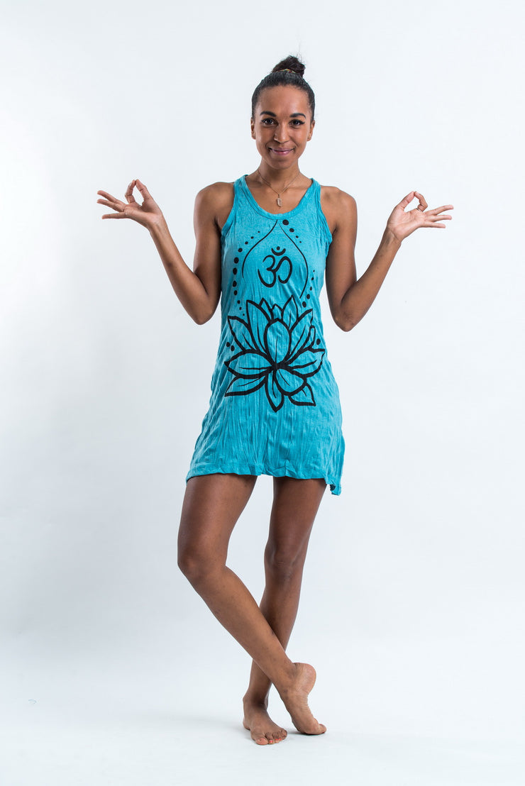 Womens Lotus Om Tank Dress in Turquoise