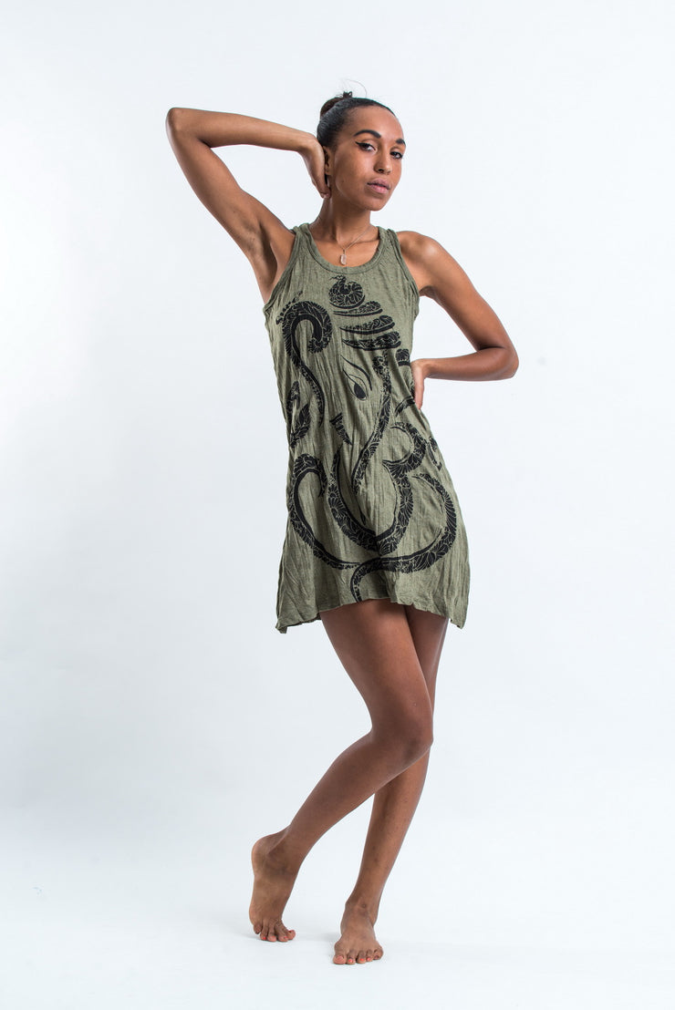 Womens Abstract Ganesh Tank Dress in Green