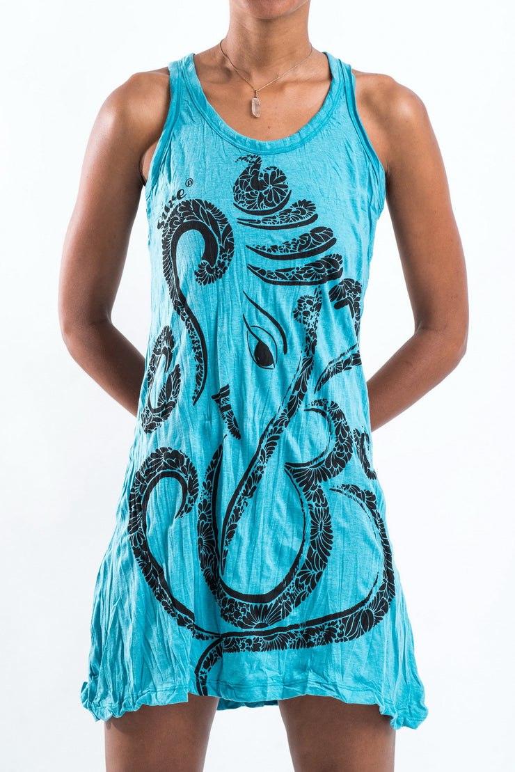 Womens Abstract Ganesh Tank Dress in Turquoise