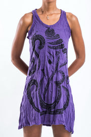 Womens Abstract Ganesh Tank Dress in Purple