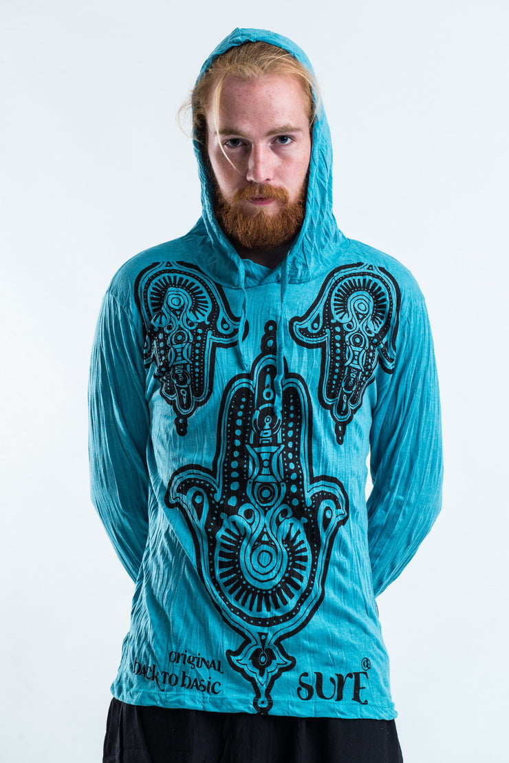 Unisex Three Hands Hoodie in Turquoise