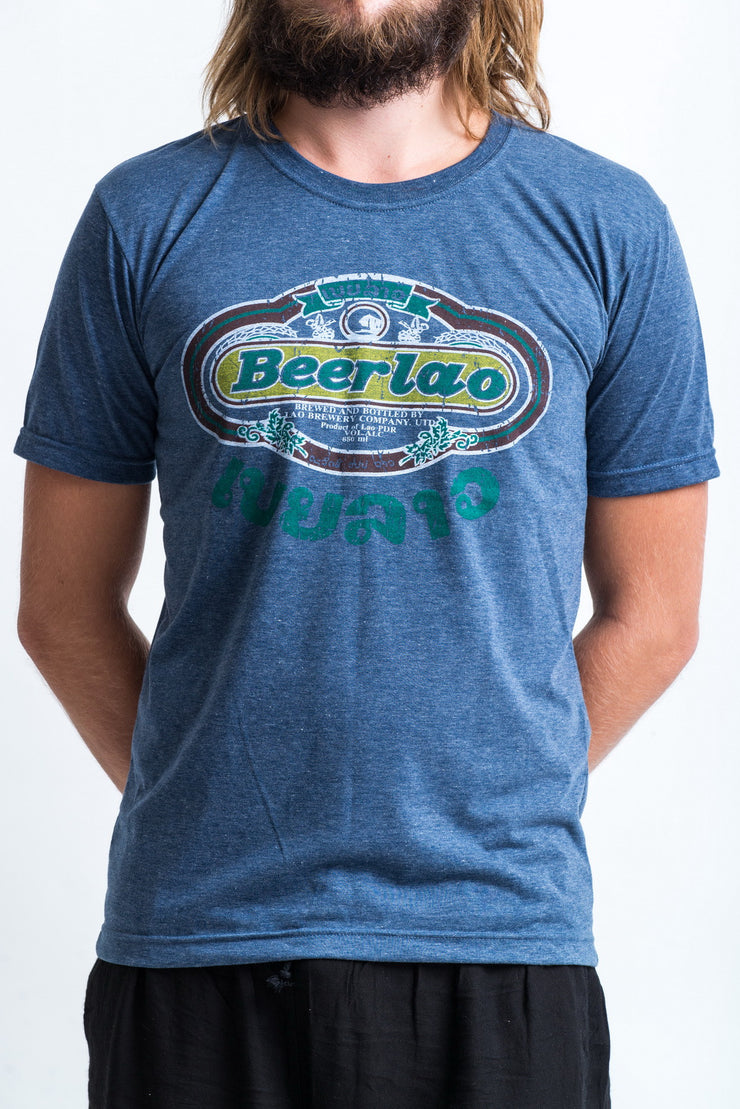 Vintage Style Beerlao Beer T-Shirt in Denim Blue