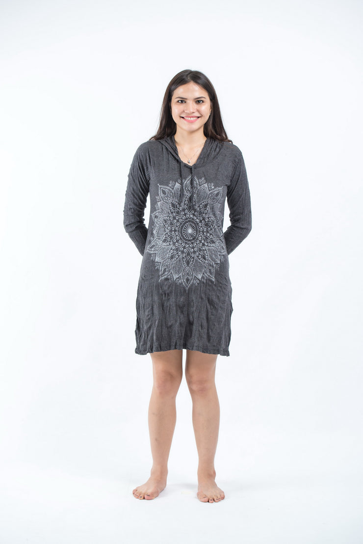 Womens Lotus Mandala Hoodie Dress in Silver on Black