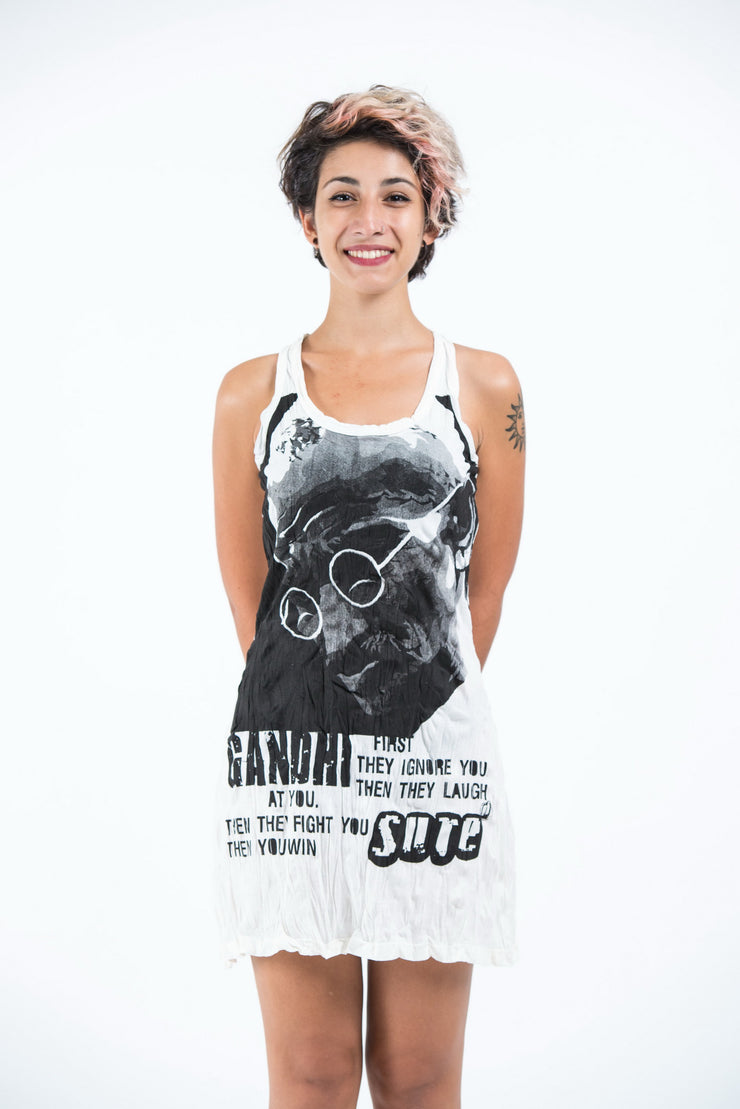 Womens Gandhi Tank Dress in White