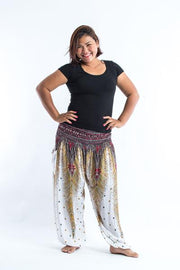 Plus Size Unisex Peacock Feathers Harem Pants in White