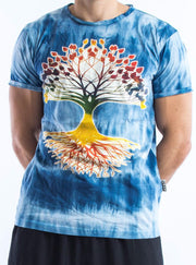 Sure Design Tie Dye Super Soft T-Shirts Tree Of Life Blue