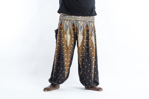 Plus Size Unisex Peacock Feathers Harem Pants in Black