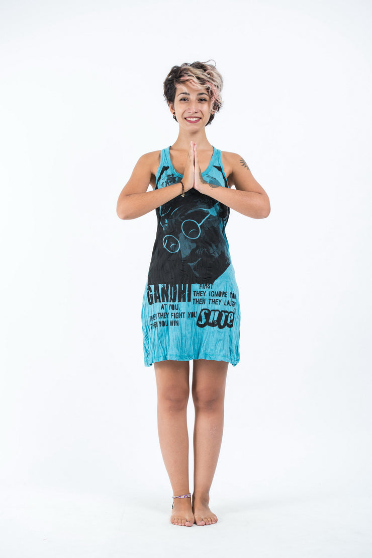 Womens Gandhi Tank Dress in Turquoise