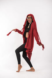 Hooded Cardigan in Red