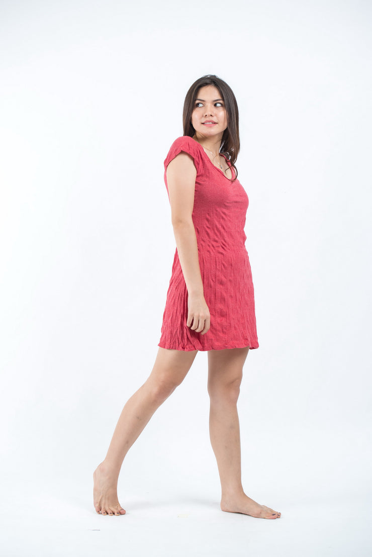 Womens Solid Color Dress in Red