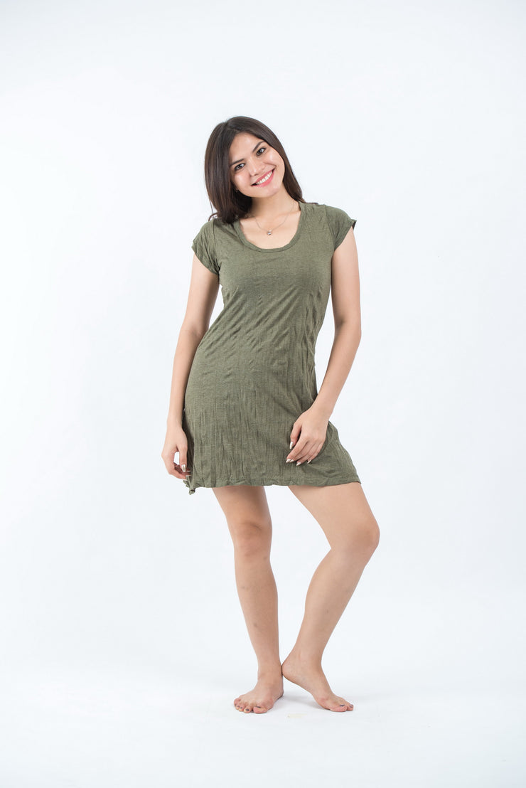 Womens Solid Color Dress in Green