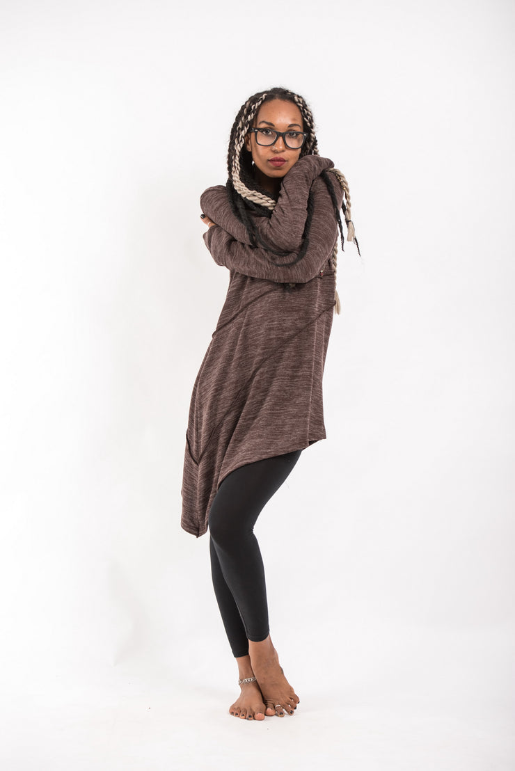 Light Hooded Diagonal Cut Sweater in Brown