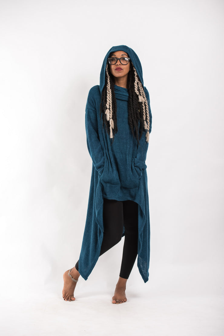 Ultra Long Hooded Sweater in Blue