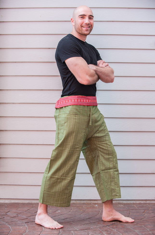 Unisex Pinstripe Thai Fisherman Pants in Green