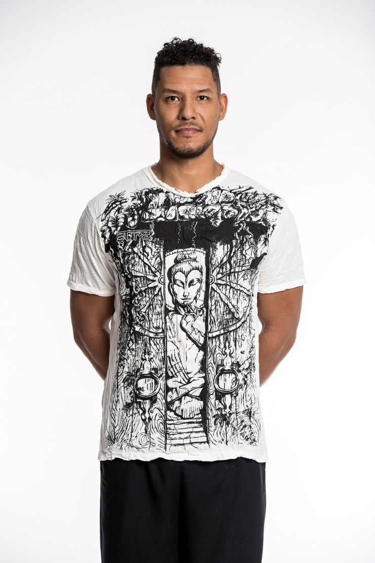 Mens Meditation Buddha T-Shirt in White